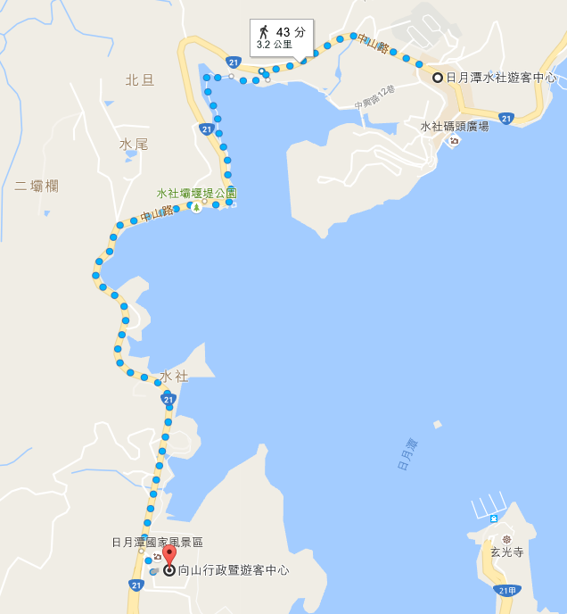 水社遊客中心→向山遊客中心