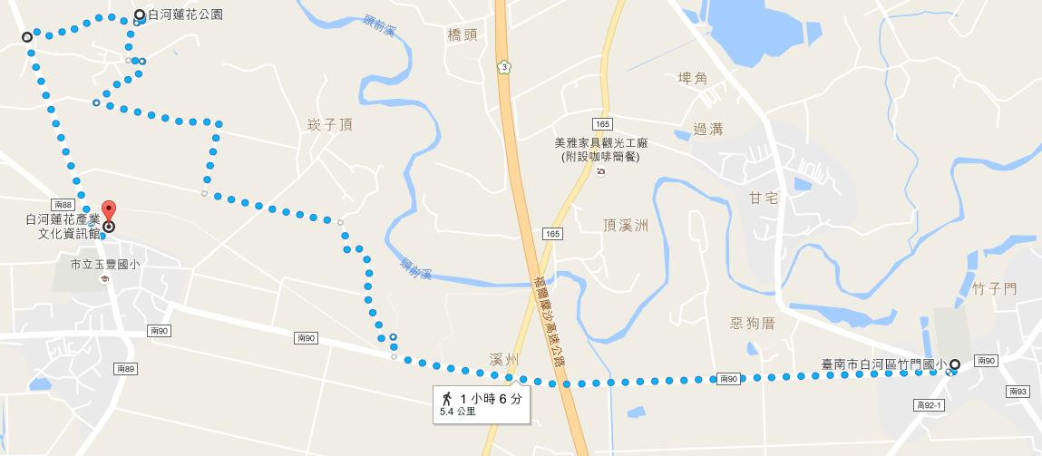 竹門國小→台南市白河區蓮花公園→白河蓮花產業文化資訊