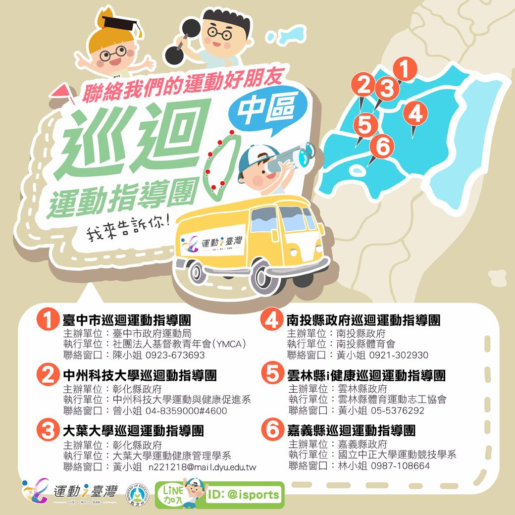 巡迴運動指導團地圖-中區